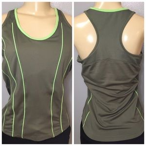 BOLLE Athletic Yoga Tank Top Green Built in Bra